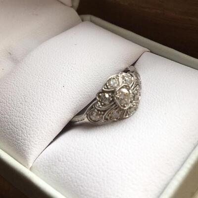 Deco Diamond Cluster Ring. Size 6.5