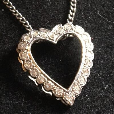 "14k White Gold Necklace and 2 CTW Diamond Heart Pendant 18"" Chain"