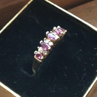 Amethyst and Diamond Ring 14k Size 5.5