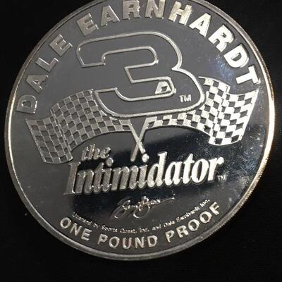 "Dale Earnhardt One Pound Silver Proof Commemorative 3.5"" Coin"