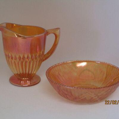 Lot 10 - Three Pieces of Marigold Carnival Glass