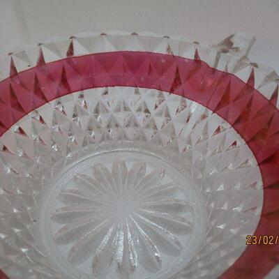 Lot 21 - Ruby Flash Diamond Dessert Bowls