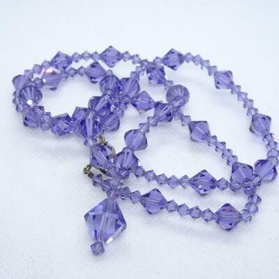 Lavender Purple Glass Crystal Necklace