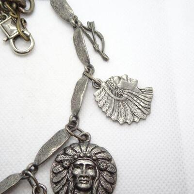 Silver Tone Native American Themed Charm Pendant Necklace, Cross, Chief, Heart
