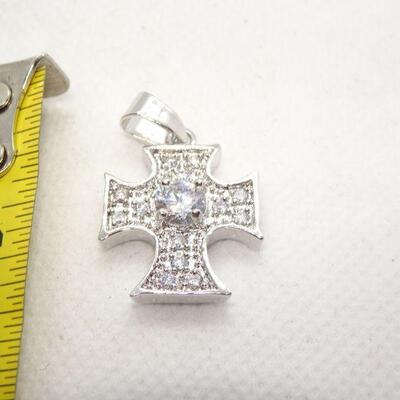 Silver Tone Rhinestone Silver Cross Pendant