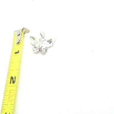 Silver Tone Rhinestone Butterfly Necklace Pendant - Signed