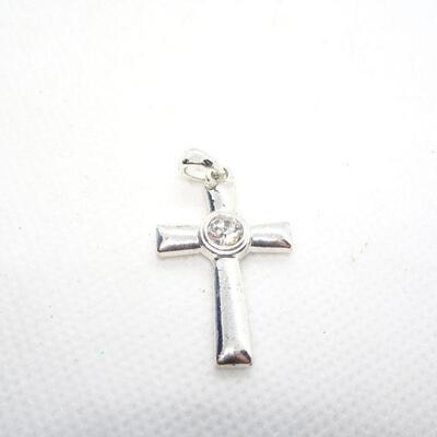 Dainty Silver Tone Center Rhinestone Cross Necklace Pendant