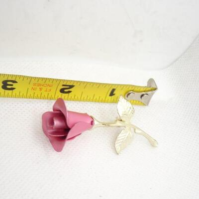 Roses are Girls Best Friend, Pink & Silver Tone Rose Brooch
