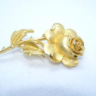 Trifari Gold Brooch, Rose Brooch MCM