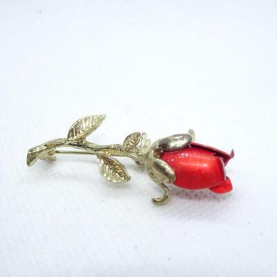 Gold Tone Ruby Red Rose Pin