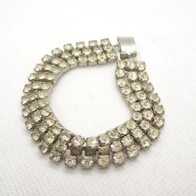 Vintage Mid Century 3 strand Rhinestone Bracelet, Evening Wear Jewels