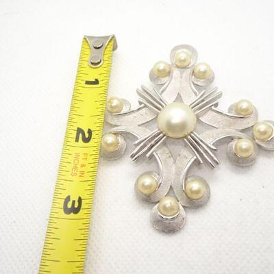Silver Trifari Pearl Brooch, Statement Jewelry, Pearls - Mid Century Jewelry