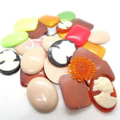 Vintage Plastic & Celluloid Jewelry Cabochons, 1950's Jewelry Supplies, Cameos