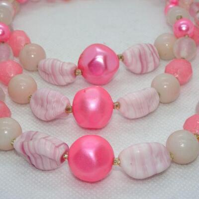 Hot Pink Triple Strand Beaded Necklace, Glass Beads