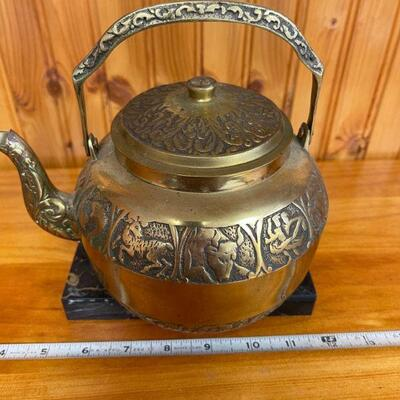 Astrological sign brass kettle
