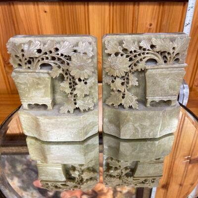 Hand carved stone book ends / Asian