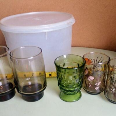 Lot 3 Misc. Vintage Kitchen Glasses and Tupperware