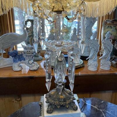 Crystal, brass & Marble Victorian Parlor Lamp - Incredible