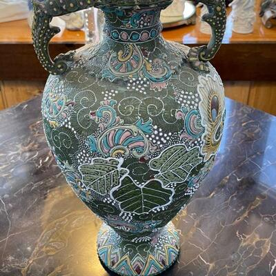 Double lobster tail handle Cloisonne vase / Incredible detail