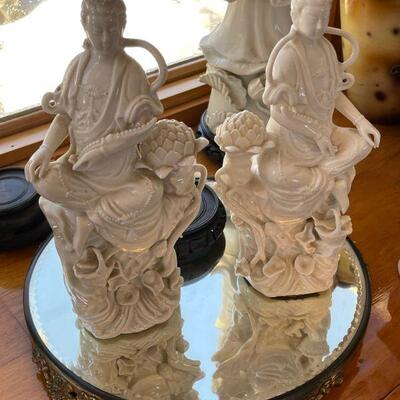 Pair of Porcelain Oriental Ladies on Mirrored Base