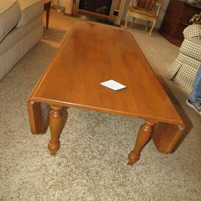 Wood Wooden Maple Drop Leaf Coffee Table 54 x 22 - Item # 6