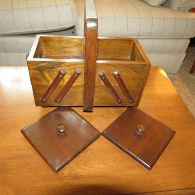 Vintage Wood Wooden Sewing Trinket Box with Lids Covers - Item # 7
