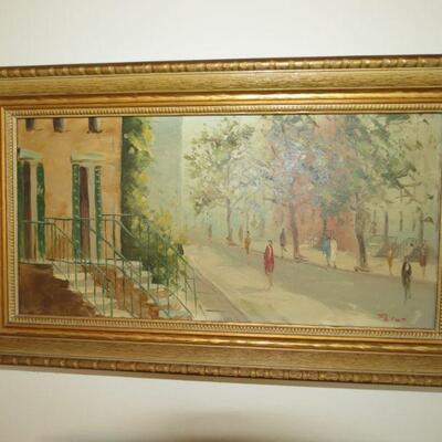 Framed Painting Street Scene View with People  19 x 11 - Item # 13