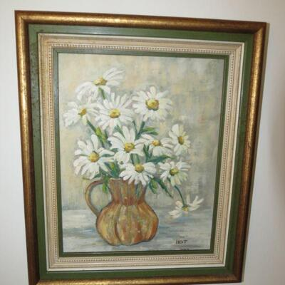 Framed Painting with Daisies Daisy 18 x 15 - Item # 14