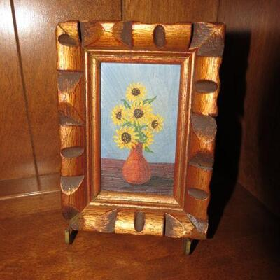 Framed Sunflowers Painting with Easel 6 x 4 1/2 inches - Item # 17