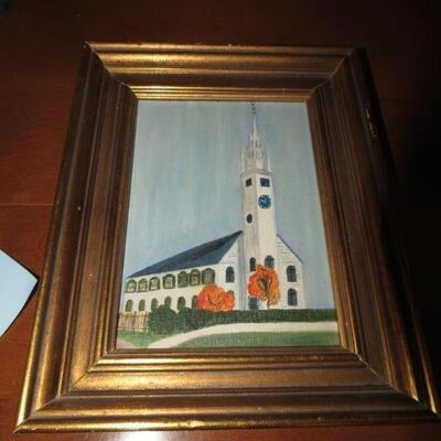 Framed Painting with Church  10 x 7 1/2 inches - Item # 20
