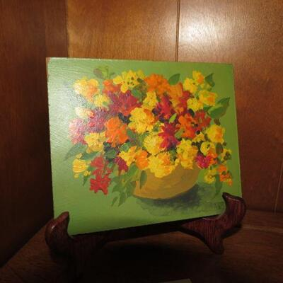 Painting of Flowers 6 x 5 inches with Easel -  Item # 22