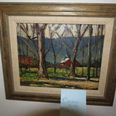 Framed Painting Trees Woods Forest Mountain Red Barn 13 1/2 x 12 - Item # 30
