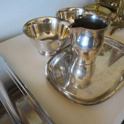 4 Pieces Silver Plate Paul Revere Reproduction Tray Creamer Bowls marked -  Item # 37