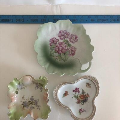 Set of three hand painted dishes