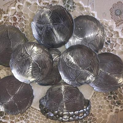 MCM hammered aluminum coaster set of eight