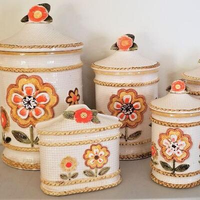 Lot #1  Set of early 1970's Kitchen Canisters w/matching Napkin Holder - Mid Century