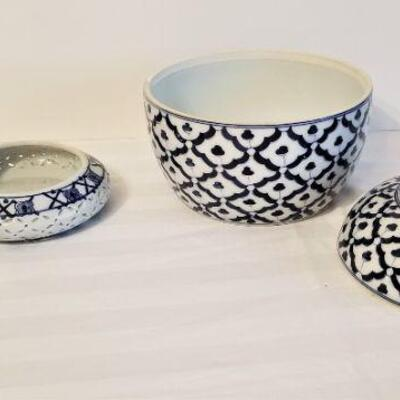 Lot #8  Two Contemporary Blue/White Decorative Pieces - one Bombay Company