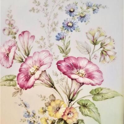 Lot #9  Pretty Hand Painted Floral Scene on Porcelain Plaque
