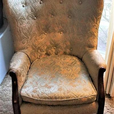 Lot #19  Vintage Armchair - damask fabric