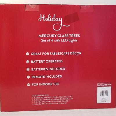 Lot #34  New in Box - Holiday Mercury Glass Trees - set of 4