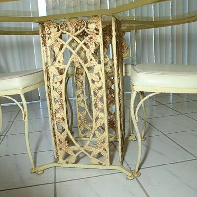 Pale Yellow Citrus Blossom Round Glass & Wrought Iron Table and Chair Set **No Arms** YD#022-0044