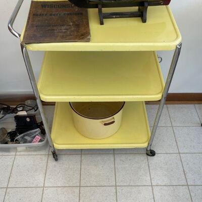 Vintage yellow enameled metal cart