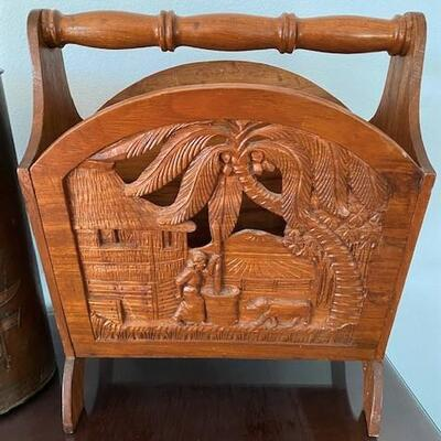 LOT#6MB1: Believed to be Narra Wood Magazine Holder & Longfellow Copper Can