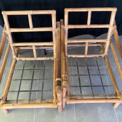 LOT#13D: Pair of Mid-Century Asian Bamboo Chairs