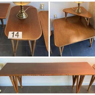 LOT#14D: Mid-Century Rattan Table Set