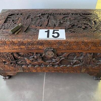 LOT#15D: Ornately Carved Camphor Wood Chest w/ lock & Key