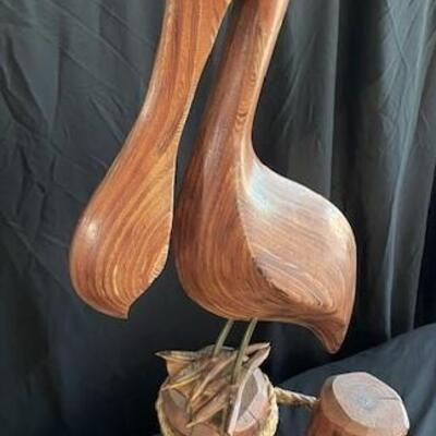 LOT#16D: Signed Large Layered Wood Carved Pelican