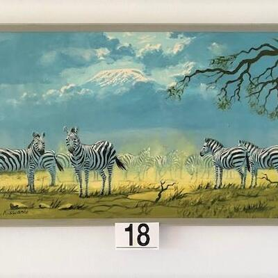 LOT#18D: Signed Acrylic Painting on Board w/ Zebras
