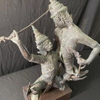 LOT#21MB1: Bronze Thai Sculpture of 2 Warriors in Combat