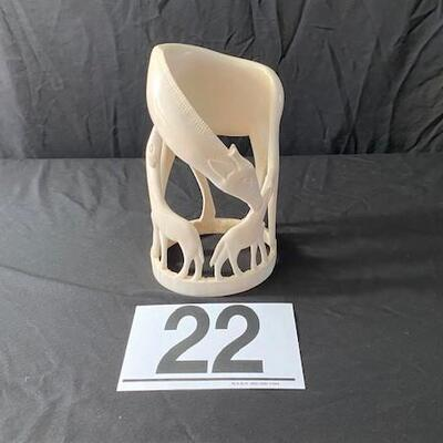 LOT#22MB1: Large Circular Ivory Carving of Giraffe & Calf (FL ID REQ)